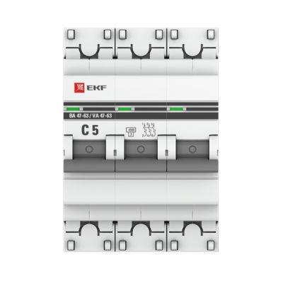 Автоматический выключатель 3P  5А (C) 4,5kA ВА 47-63 EKF PROxima; mcb4763-3-05C-pro