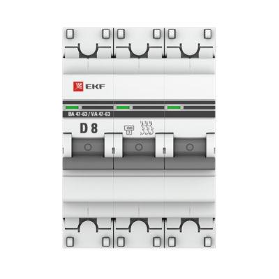 Автоматический выключатель 3P  8А (D) 4,5kA ВА 47-63 EKF PROxima; mcb4763-3-08D-pro