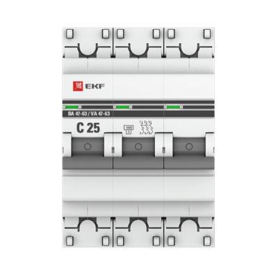 Автоматический выключатель 3P 25А (C) 4,5kA ВА 47-63 EKF PROxima; mcb4763-3-25C-pro