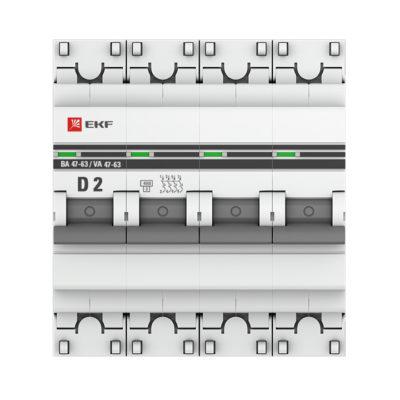 Автоматический выключатель 4P  2А (D) 4,5kA ВА 47-63 EKF PROxima; mcb4763-4-02D-pro