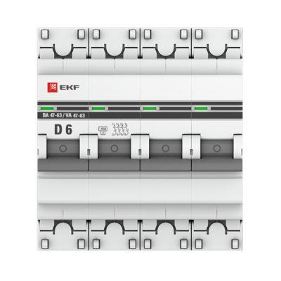 Автоматический выключатель 4P  6А (D) 4,5kA ВА 47-63 EKF PROxima; mcb4763-4-06D-pro