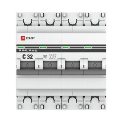 Автоматический выключатель 4P 32А (C) 4,5kA ВА 47-63 EKF PROxima; mcb4763-4-32C-pro