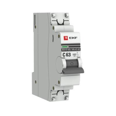Автоматический выключатель 1P 63А (C) 6кА ВА 47-63 EKF PROxima; mcb4763-6-1-63C-pro