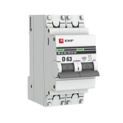 Автоматический выключатель 2P 63А (D) 6кА ВА 47-63 EKF PROxima; mcb4763-6-2-63D-pro