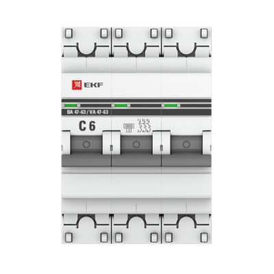 Автоматический выключатель 3P  6А (C) 6кА ВА 47-63 EKF PROxima; mcb4763-6-3-06C-pro