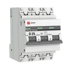 Автоматический выключатель 3P 25А (D) 6кА ВА 47-63 EKF PROxima