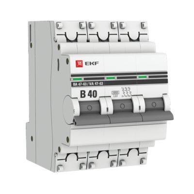 Автоматический выключатель 3P 40А (B) 6кА ВА 47-63 EKF PROxima; mcb4763-6-3-40B-pro