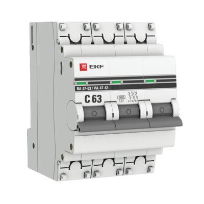 Автоматический выключатель 3P 63А (C) 6кА ВА 47-63 EKF PROxima; mcb4763-6-3-63C-pro