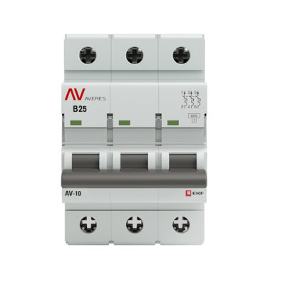 Выключатель автоматический AV-6 3P 25A (B) 6kA EKF AVERES; mcb6-3-25B-av