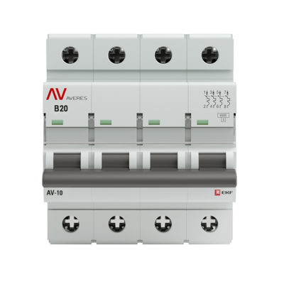 Выключатель автоматический AV-6 4P 20A (B) 6kA EKF AVERES; mcb6-4-20B-av