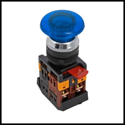 Кнопка AELA-22 синяя с подсветкой NO+NC 220В Грибок EKF PROxima; pbn-aela-1b-220