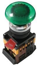 Кнопка AELA-22 зеленая с подсветкой NO+NC 220В Грибок EKF PROxima