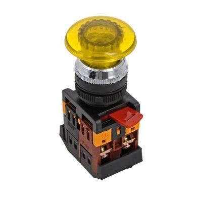 Кнопка AELA-22 желтая с подсветкой NO+NC 220В Грибок EKF PROxima; pbn-aela-1o-220