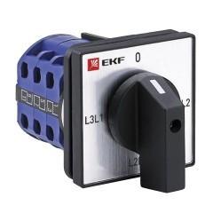 Переключатель кулачковый ПК-1-73 10А 3P для вольтметра линейное напряжение EKF PROxima