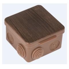 Коробка распаячная  КМР-030-031 с крышкой (80х80х50) 7 мембранных вводов тёмное дерево IP54 EKF PROxima