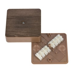 Коробка разветвительная КМР-030-032кг (100х100х28) с клеммником тёмное дерево EKF PROxima