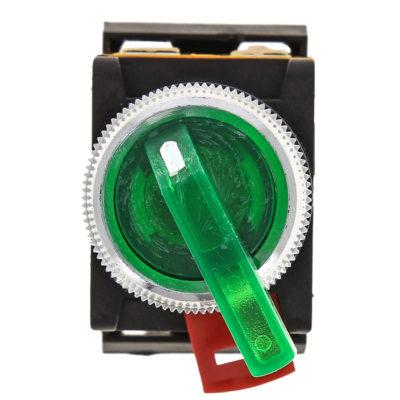 Переключатель ANLC-22 2P зеленый с подсветкой 24В DC NO+NC EKF PROxima; psw-anlc-2p-g-24