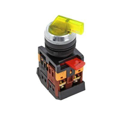 Переключатель ANLC-22 3P желтый с подсветкой 380В NO+NC EKF PROxima; psw-anlc-3p-o-380