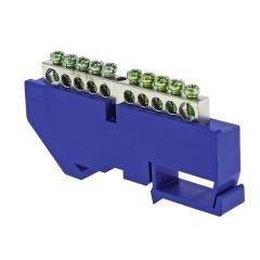 "Шина ""0"" N (6x9мм) 10 отв. цинк синий изолятор на DIN-рейку EKF PROxima"