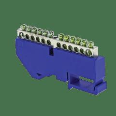 "Шина ""0"" N (6x9мм) 12 отв. цинк синий изолятор на DIN-рейку EKF PROxima"