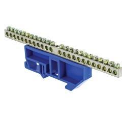 "Шина ""0"" N (6x9мм) 24 отв. цинк синий изолятор на DIN-рейку EKF PROxima"