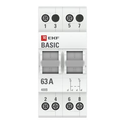 Трехпозиционный переключатель 2P 63А EKF Basic; tps-2-63