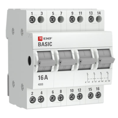 Трехпозиционный переключатель 4P 16А EKF Basic; tps-4-16