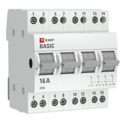 Трехпозиционный переключатель 4P 63А EKF Basic; tps-4-63