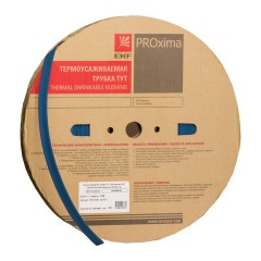 Термоусаживаемая трубка ТУТ нг 12/6 синяя рулон EKF PROxima