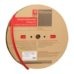 Термоусаживаемая трубка ТУТ нг 12/6 красная рулон EKF PROxima