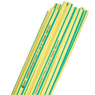 Термоусаживаемая трубка ТУТ нг 14/7 желто-зеленая в отрезках по 1м EKF PROxima; tut-14-yg-1m