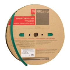 Термоусаживаемая трубка ТУТ нг 16/8 зелёная рулон EKF PROxima