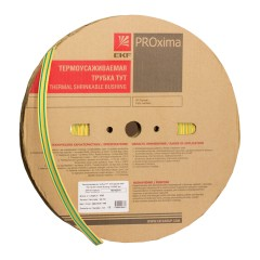 Термоусаживаемая трубка ТУТ нг 16/8 жел-зел рулон EKF PROxima
