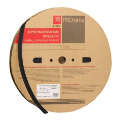 Термоусаживаемая трубка ТУТ нг 2/1 черная рулон EKF PROxima