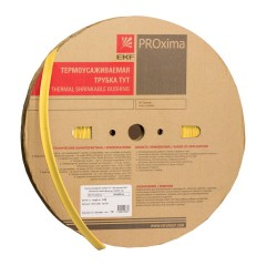 Термоусаживаемая трубка ТУТ нг 20/10 желтая рулон EKF PROxima