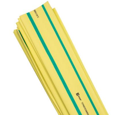 Термоусаживаемая трубка ТУТ нг 40/20 желто-зеленая в отрезках по 1м EKF PROxima; tut-40-yg-1m