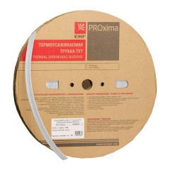 Термоусаживаемая трубка ТУТ нг 8/4 белая рулон EKF PROxima