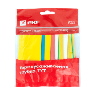 Термоусаживаемая трубка ТУТ нг 30/15 набор:7 цветов по 3шт. 100мм. EKF PROxima; tut-n-30