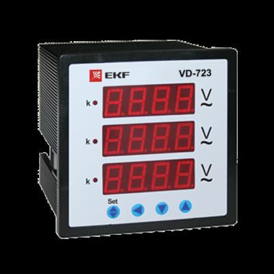VD-723 Вольтметр цифровой на панель (72х72) трехфазный EKF PROxima; vd-723