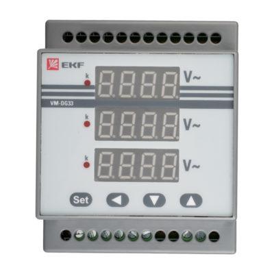 VD-G33 Вольтметр цифровой на DIN трехфазный EKF PROxima; vd-g33