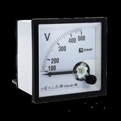 Вольтметр VMA-961 аналоговый на панель (96х96) квадратный вырез 500В прямое подкл. EKF PROxima ; vma-961-500